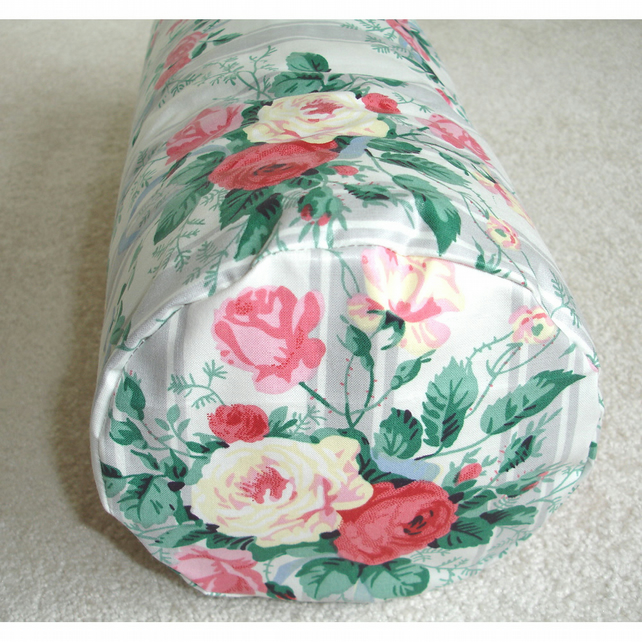 "Original Vintage Fabric Bolster Cushion Cover 16""x6"" Round Roses Yellow Pink"