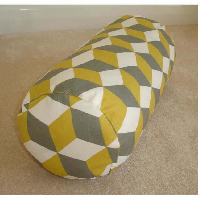 "Bolster Cushion Cover 16""x6"" Round Cylinder Neck Roll Pillow Yellow Grey"