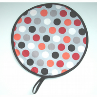 Aga Hob Lid Mat Pad Hat Round Cover With Loop Surface Saver Spots Red Orange