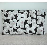 Bichon Frise Cushion Cover 12x16 inch Oblong Bolster