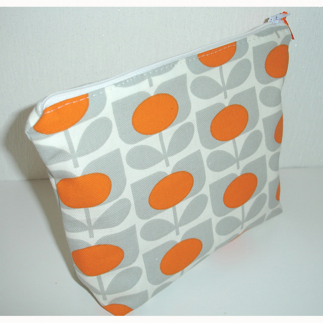 Orange and Grey Cosmetic Make Up Purse 1970s Flower 70s Retro Style