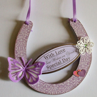 Decorated  MDF Horseshoe, On Your Special Day (Lilac)