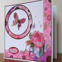 Large Birthday Card, Butterflies and Pink Roses