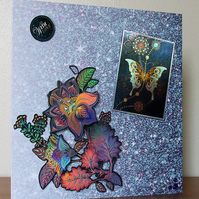 Large Blank Card, Blue Butterfly and Flower
