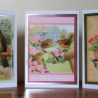 Pack of 3 Blank Cards, British Garden Birds