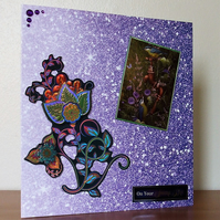 Large Blank Card, Purple Flowers and Birds