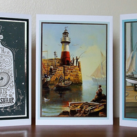 Pack of 3 Blank Cards, Nautical