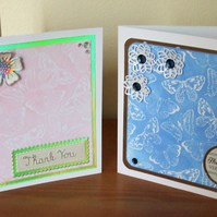 Thank You Cards, Pack of 2 Blue & Pink
