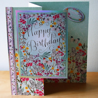 Birthday Card, Flowers and Butterflies