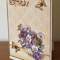 Birthday Card, Pansies and Butterflies