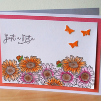 Blank Notecard, Pink and Orange Gerberas