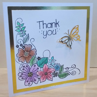Thank you card, Floral corner