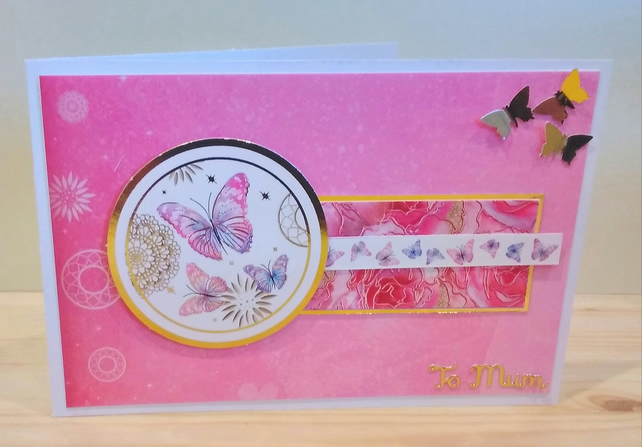 Mothers Day or Birthday card, Butterflies to Mum
