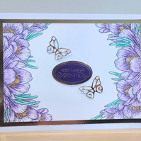 Mothers Day Card, Purple Crocuses