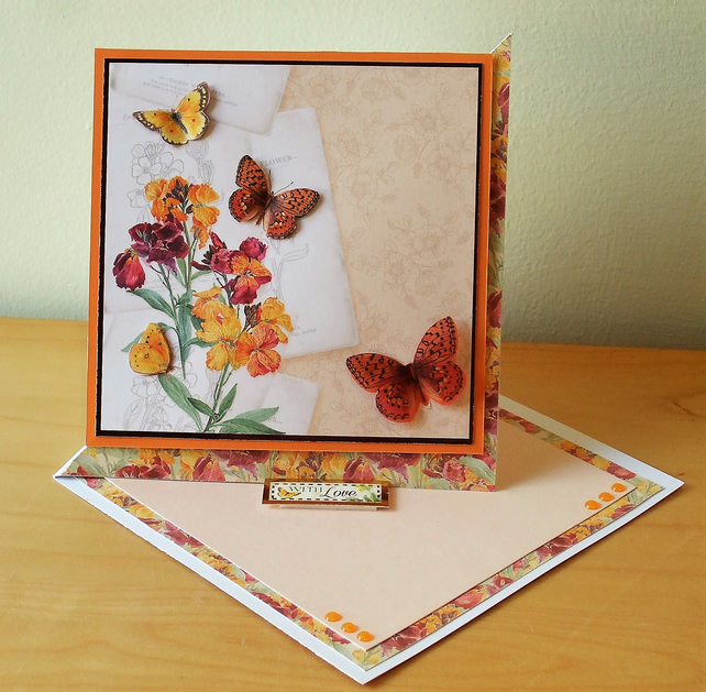 With Love Card, Flowers and Butterflies REDUCED TO CLEAR