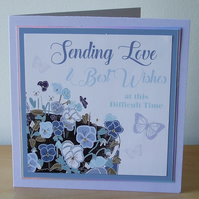 Sympathy card, Blue Pansies REDUCED TO CLEAR