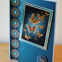 Blank Card, Teal Butterflies REDUCED TO CLEAR