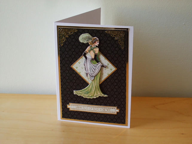 Birthday or Mother's Day Card, Art Deco Lady