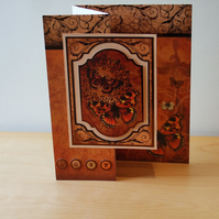 Birthday Card, Amber Butterflies, REDUCED TO CLEAR