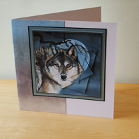 Blank Card, Wolf  in Moonlight