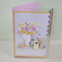 Blank card, Bird House and Spring Flowers