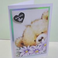 Blank card, Teddy and Flowers, Sent With Love