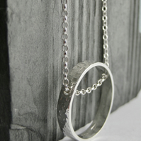 Circular Necklace Sterling Silver Hammered Sparkly Textured 16-24 Inches