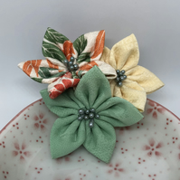 Kanzashi Cluster Brooch- Orange and green