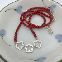 Ume necklace with bamboo coral