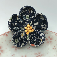 Ume Kanzashi Brooch- Navy Blue