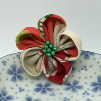 Ume Kanzashi Brooch- Bold red