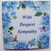 Blue Dahlias With Deepest Sympathy Card