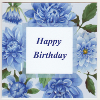 Blue Dahlias Happy Birthday Card