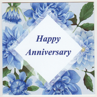 Blue Dahlias Happy Anniversary Card