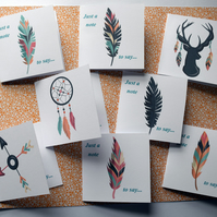 8 Boho Feather 3 x 3 Blank Mini Note Cards Gift Tags Stationery Set Square Cards