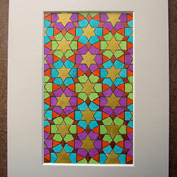 Arabic Art Geometric Design Coloured Pencil and Iridescent Ink on Paper