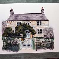 Country Cottage A4 Giclee Print of Original Pen and Ink Drawing Architecture