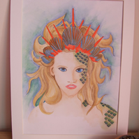 Mermaid Original Watercolour Painting with Mount Fantasy Art