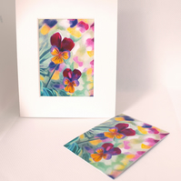 Pansies ACEO Art Print Floral ACEO Art Card Artist Trading Card