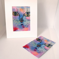 Doodle Cat ACEO Art Print Animal ACEO Art Card Artist Trading Card