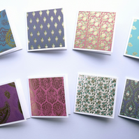 Eastern Opulence Foiled Mini Note Cards 3 x 3 Blank Note Cards Set of 8 Gift Tag