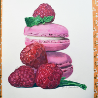 Raspberries and Macarons Coloured Pencil Drawing Original Art Food Art Macaroons