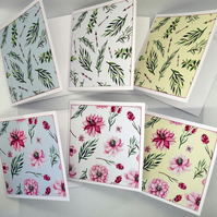 Set of 6 Floral 3 x 3 Blank Mini Note Cards Pink Flowers Ferns & Arrows Gift Tag