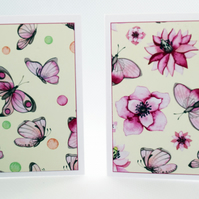 Set of 6 Pink Butterflies 3x3 Blank Mini Note Cards Flower & Butterfly Gift Tags