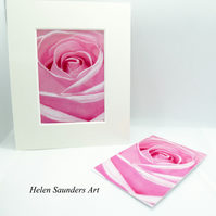 Pink Rose ACEO Giclee Art Print Floral ACEO Art Card Artist Trading Card