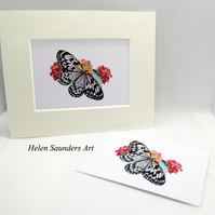 Butterfly and Flowers ACEO Giclee Art Print Art Card Artist Trading Card
