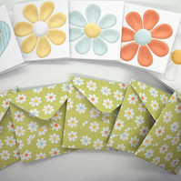 Set of 5 Mini Note Cards Daisies 2 x 2 Inch Blank Note Cards Twinchies Tags etc