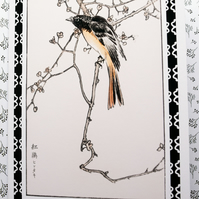 Vintage Japanese Bird Art Blank A6 Cards with White Evelopes Notecards