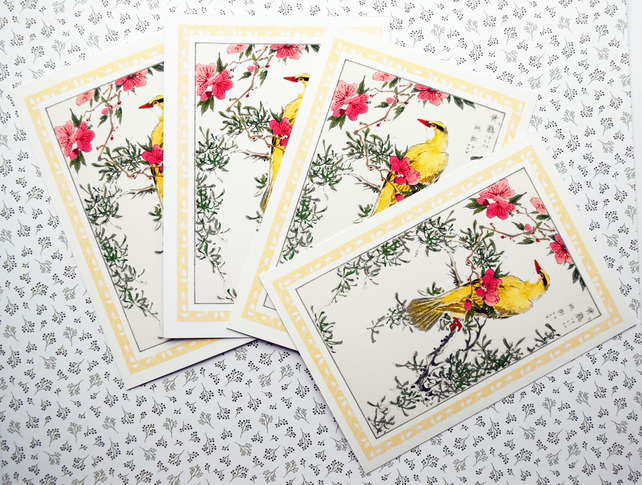 4 A6 Postcards Vintage Japanese Bird Art Bush Warbler NotecardsThank You Cards