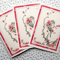 4 A6 Postcards Vintage Japanese Bird Art Pine Bunting NotecardsThank You Cards